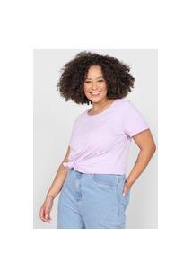 Camiseta Basicamente. Plus Size Lisa Lilás