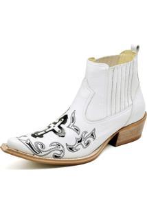 Botina Couro Cano Curto Bico Fino Bordado Gaspariano Calçados Branca