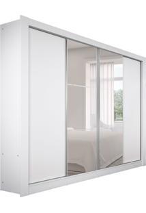 Guarda-Roupa Casal Com Espelho Esplendor 4Pt Branco