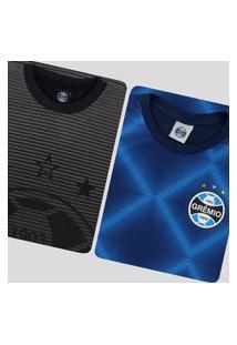 Kit De 2 Camisas Grêmio Immortal Preta E Azul