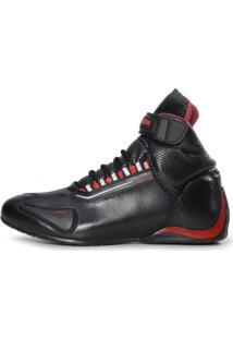 Bota Motociclista Atron Shoes Refletivo Cano Alto Vermelho