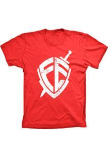 Camiseta Baby Look Lu Geek Escudo Da Fé Vermelho