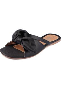 Rasteira Trivalle Shoes Cetim Preta