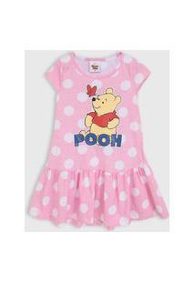 Vestido Fakini Infantil Pooh Rosa