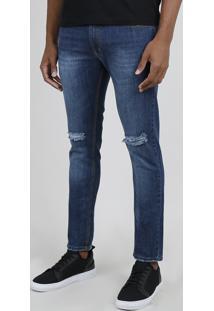 Calça Jeans Masculina Skinny Com Rasgos Azul Escuro