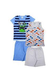 Kit 2 Pijama Infantil Masculino Algodão Sortidos