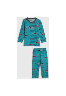 Pijama Elian Longo Infantil Carrinhos Verde