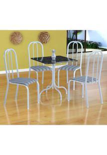 Conjunto De Mesa Malaga Com 4 Cadeiras Madri Branco E Preto Listrado