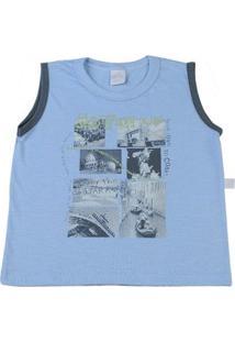 Camiseta Infantil Malha Flamê Adventure - Masculino-Azul