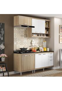 Cozinha Compacta 7 Portas Sicília Com Tampo 5811 Branco/Argila - Multimóveis