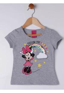 Blusa Manga Curta Disney Infantil Para Menina - Cinza