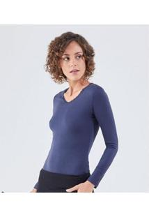 Camiseta Liz Easywear Camiseta Manga Longa Feminina - Feminino-Azul Escuro