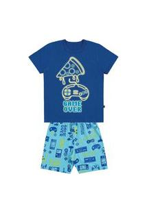 Pijama Infantil Camiseta E Bermuda Meia Malha Brilha No Escuro-4