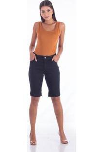 Bermuda Sisal Jeans Ciclista Bordado Feminina - Feminino-Azul Escuro