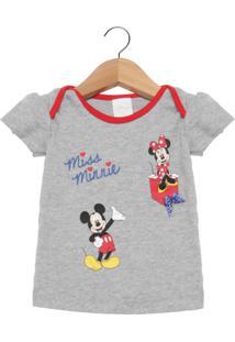 Camiseta Manga Curta Bebê Disney By Tricae Mickey Cinza.