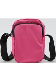 Bolsa Feminina Transversal Pequena Com Bolso Rosa Neon - Único