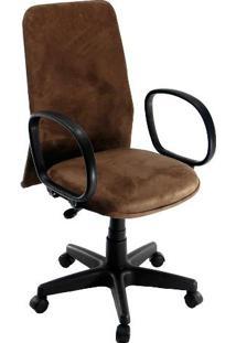 Cadeira De Escritório Tela Diretor Suede Marrom