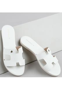 Rasteirinha Slide Feminina Oneself Texturizada Cobra Com Vazado Off White