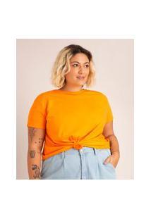 Camiseta De Algodão Plus Size Básica Com Nó Manga Curta Decote Redondo Laranja