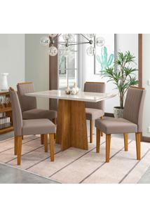 Conjunto De Mesa De Jantar Com Tampo De Vidro E 4 Cadeiras Ana Ii Veludo Off White E Marrom