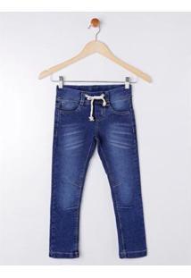 Calça Jeans Infantil Bob Bandeira Masculina - Masculino-Azul