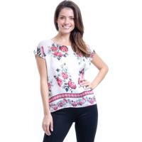 a0570b9bc475 Blusa 101 Resort Wear Cropped Cetim Estampa Floral Branco E Vermelho