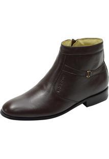 Botina Social Conforto Atron Shoes 701 Couro De Carneiro Café