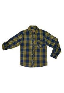 Camisa Juvenil Look Jeans Slim Xadrez Amarelo
