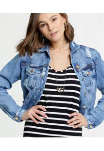 Jaqueta Feminina Cropped Jeans Destroyed Botões