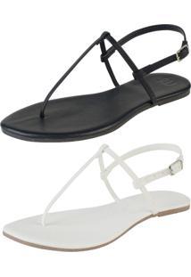 Kit 2 Pares Sandália Flat Simples Mercedita Shoes Napa Preto E Branca - Kanui