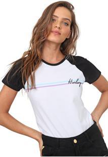 Camiseta Hurley Raglan Line Bars Branca/Preta