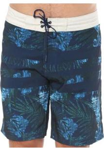 Bermuda Yacht Master Água Reta Estampada Masculina - Masculino-Azul