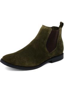 Botina Chelsea Boots Verde Militar Com Sola Preta Escrete 8fa5307b845fb