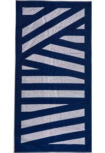 d44ba03b2 Toalha De Praia Aveludada Estampada Stripes Azul Dark Stripes Azul Dark