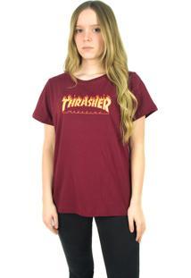 Camiseta Thrasher Magazine Flame Logo Bordô