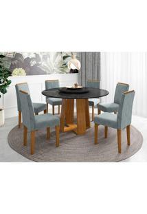 Conjunto De Mesa De Jantar Isabela Com Tampo De Vidro E 6 Cadeiras Estofadas Amanda Animalle Preto E Azul