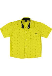 Camisa Look Jeans Gravataria Collor Amarela