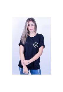 Camiseta Bilhan Corte A Fio Coração Na Mira Preta