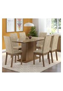 Conjunto Sala De Jantar Madesa Moscou Mesa Tampo De Vidro Com 6 Cadeiras Rustic/Crema/Imperial
