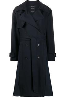 Rokh Trench Coat Com Abotoamento Duplo - Azul
