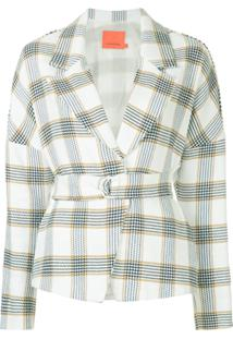 Manning Cartell Blazer Xadrez Com Cinto - Branco