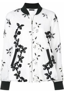 Josie Natori Embroidered Bomber Jacket - Branco