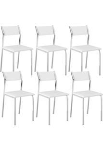 Cadeira Carraro 1709 Branco,Cromado 6 Cadeiras