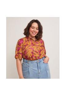 Camisa Manga Curta Em Viscose Estampa Bananas Curve & Plus Size | Ashua Curve E Plus Size | Rosa | G