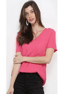 Camiseta Forum Gola V Básica Feminina - Feminino-Rosa