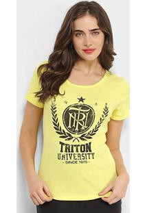 Camiseta Triton University Since Feminina - Feminino-Amarelo Claro
