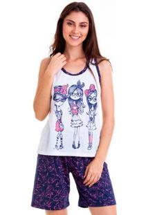 Pijama Nadador Feminino Luna Cuore - Feminino-Marinho