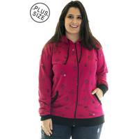 27e64e627205d Jaqueta Konciny Moletom Estampado Plus Size 85218 Rosa
