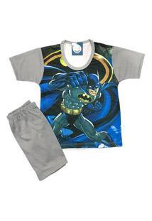 Pijama Infantil Kidsline Malha Fria Verão Personagem Azul E Cinza