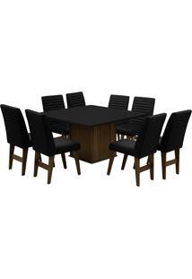 Conjunto De Mesa Para Sala De Jantar Com 8 Cadeiras Creta-Dobue - Castanho / Preto / Preto Bord